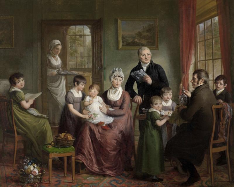 Portret van de Familie Bonebakker met Dirk L. Bennewitz geschilderd door Adriaan de Lelie in 1809. Bonebakker staand en Bennewitz zittend. Bonebakker en Zoon zilversmeden en winkeliers