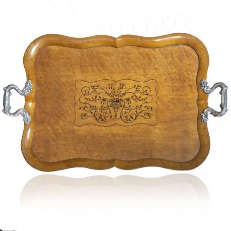 Notenhouten theeblad met zilveren handvatten gemaakt door Pieter Pieterse.