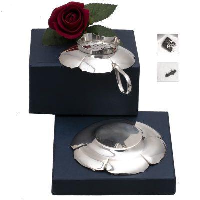 Zilveren theezeef met lekbakje