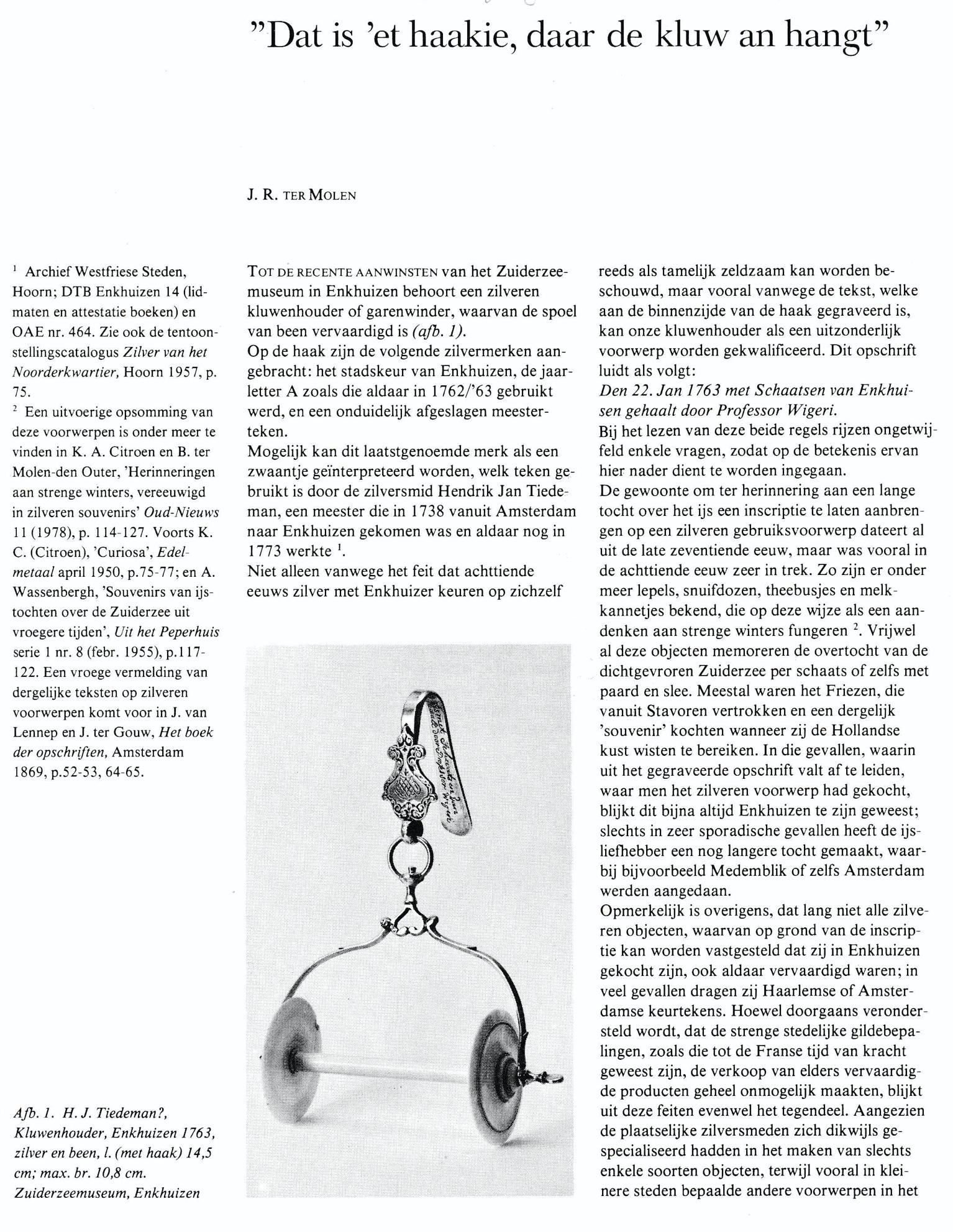 Publicatie in de Antiek over de aankoop van een zilveren kluwenhouder